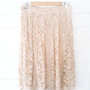 Jella Couture Nude Lace Midi Skirt / L